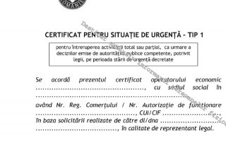 certificat situatii de urgenta