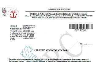 tipuri de certificate constatatoare